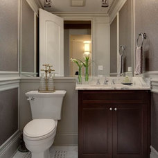 Transitional Powder Room by Randy Heller Pure and Simple Interior Design