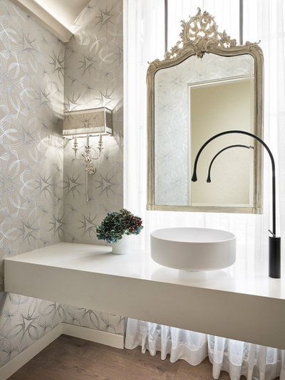 Contemporary Powder Room by Duet Design Group