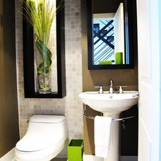 Contemporary Powder Room by Andre Couture Coloriste Decorateur