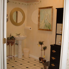 eclectic powder room by interior- decorating-diva.com/Marie Grabo Designs