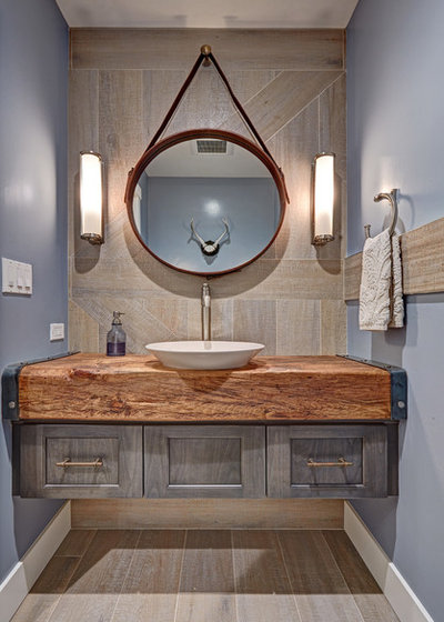 Vintage Farmhouse Powder Room by Nar Design Group
