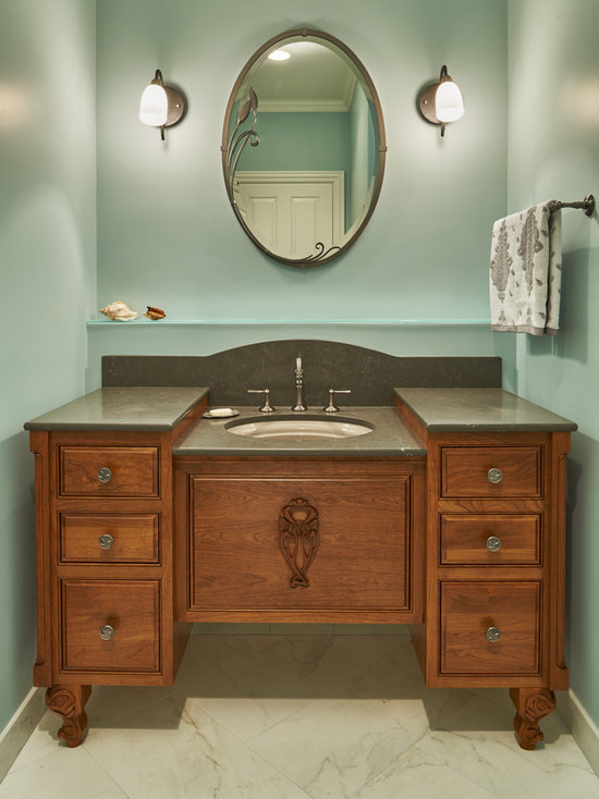 top 20 powder room with medium tone wood cabinets and beaded inset