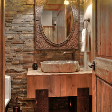 Rustic Powder Room by Lands End Development - Designers & Builders