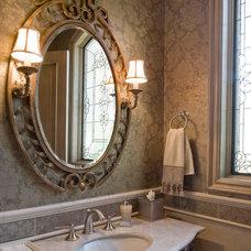 Mediterranean Powder Room by Macaluso Designs