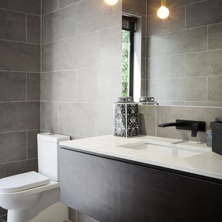 Photo of a contemporary powder room in Melbourne.