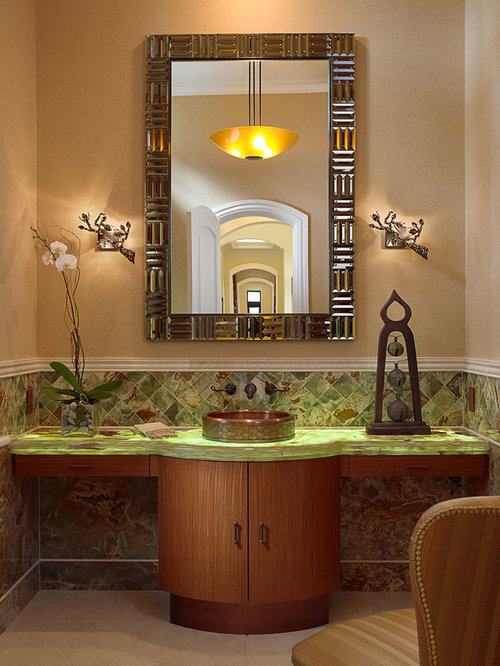 top 30 powder room with glass countertops idea