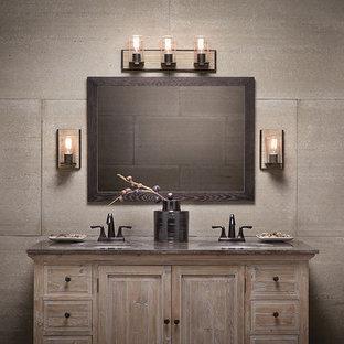 На фото: туалет среднего размера в стиле рустика с фасадами островного типа, искусственно-состаренными фасадами, бежевой плиткой, цементной плиткой, бежевыми стенами, врезной раковиной и столешницей из гранита