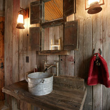 Rustic Powder Room by Lynne Barton Bier - Home on the Range Interiors