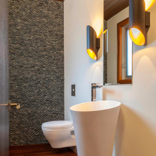 Design ideas for a contemporary cloakroom in Other with a pedestal sink, a wall mounted toilet, grey tiles, pebble tiles, white walls and dark hardwood flooring.