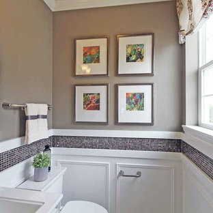 Small classic cloakroom in Chicago with a pedestal sink, multi-coloured tiles and grey walls.
