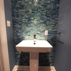 Contemporary Powder Room by M-Squared Contracting Inc.