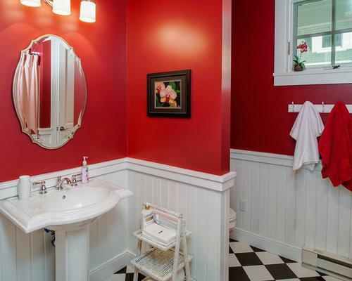 Photos et id es d co de wc et toilettes avec un carrelage noir et blanc et un - Peinture toilettes idee ...