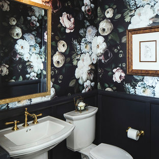 Small eclectic ceramic tile powder room photo in San Francisco with a pedestal sink, a two-piece toilet and multicolored walls