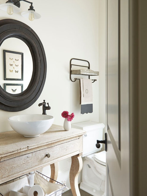 Farmhouse Powder Room Design Ideas, Remodels & Photos with Light Wood Cabinets