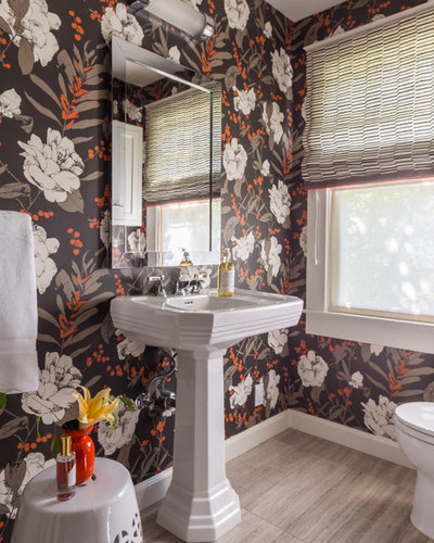Transitional Powder Room by Ann Lowengart Interiors