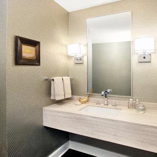 Новые идеи обустройства дома: туалет в современном стиле с столешницей из известняка
