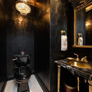 Inspiration för ett funkis svart svart toalett, med en toalettstol med separat cisternkåpa, svarta väggar, ett undermonterad handfat och vitt golv