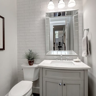 Powder Room Mid Sized Farmhouse White Tile And Subway Idea In