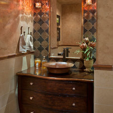 Mediterranean Powder Room by Cindy Smetana Interiors