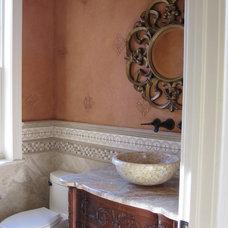 Mediterranean Powder Room by Lyz Hearn Designs, Inc.