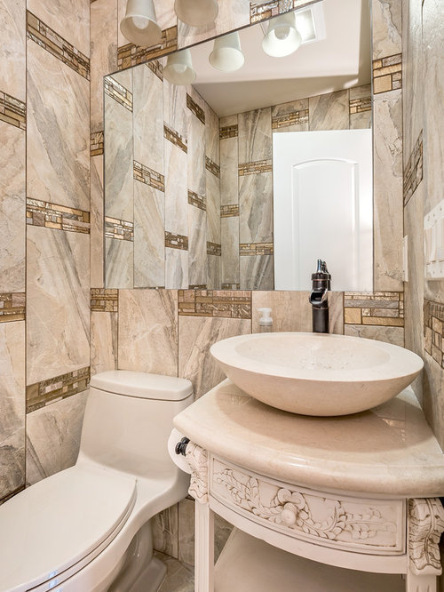 Powder room design ideas renovations photos with beige - Powder room tile ideas ...