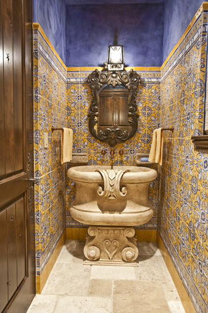 Mediterranean Powder Room by Chandos Interiors
