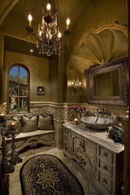 Mediterranean Powder Room by Fratantoni Luxury Estates