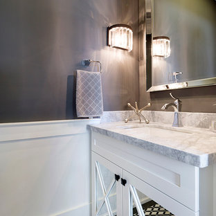 This is an example of a small classic cloakroom in Toronto with a submerged sink, freestanding cabinets, white cabinets, quartz worktops, multi-coloured tiles, grey walls, marble flooring and grey worktops.