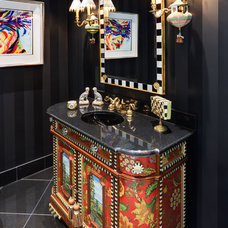 Eclectic Powder Room by Bethesda Builders Ltd.