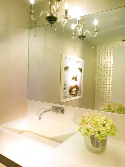 Modern Yellow Powder Room Design Ideas Remodels Photos