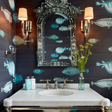Example of a mid-sized beach style powder room design in Chicago with open cabinets, white cabinets, blue walls, an undermount sink and marble countertops