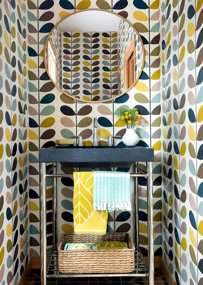 Eclectic Powder Room by Lucy Interior Design