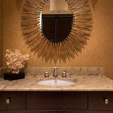 Transitional Powder Room by Renée Gaddis Interiors
