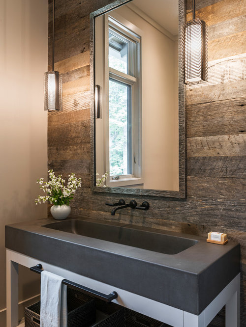 Large Farmhouse Powder Room Idea In Charlotte With White Cabinets Concrete Countertops Open