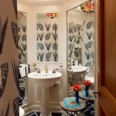 Mediterranean Powder Room by Collaborative Design