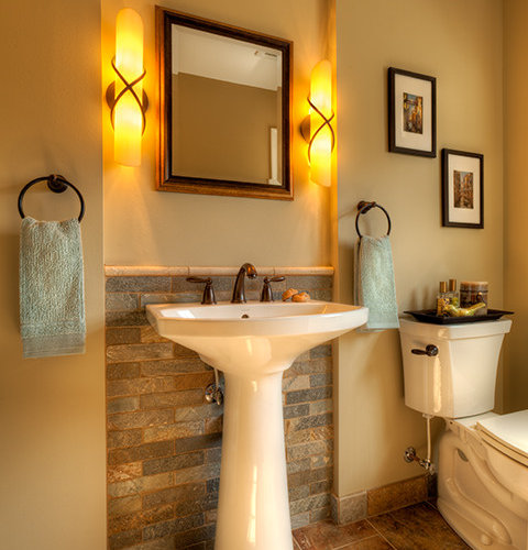 SaveEmail - Tile Behind Pedestal Sink Ideas, Pictures, Remodel And Decor