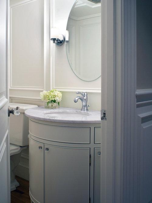 Small Elegant Medium Tone Wood Floor Powder Room Photo In Boston With An  Undermount Sink,