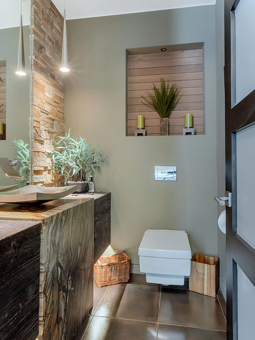 Small Contemporary Stone Tile And Beige Tile Ceramic Floor And Brown Floor Powder  Room Idea In Part 47