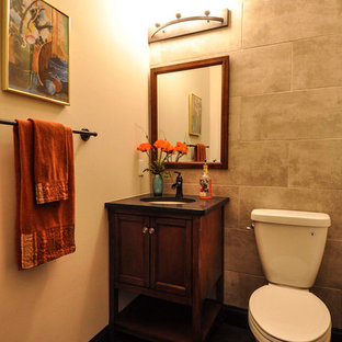 Design ideas for a small cloakroom in St Louis with shaker cabinets, dark wood cabinets, grey tiles, porcelain tiles, grey walls, slate flooring, an integrated sink and granite worktops.