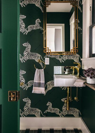 Transitional Powder Room by White Space Design San Francisco