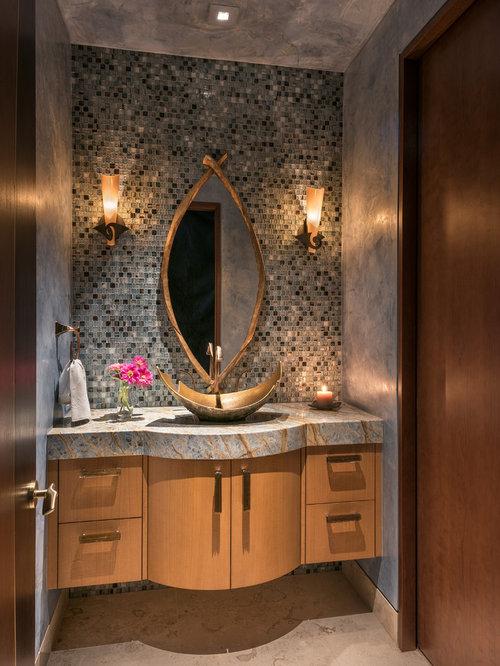Best 25 Powder Room with Granite Countertops and Light Wood Cabinets Ideas | Houzz