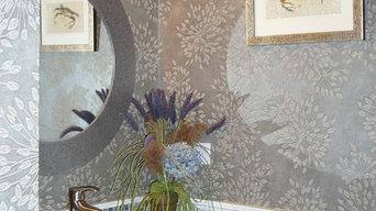 Modern Elegant Powder Room, Bead Board Panelling, Custom Vanity, Glass Tiles Bac