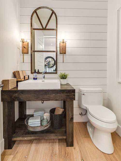 Powder Room Design Ideas Large Farmhouse Powder Room Idea In Calgary With Furniture Like Cabinets Dark Wood Cabinets