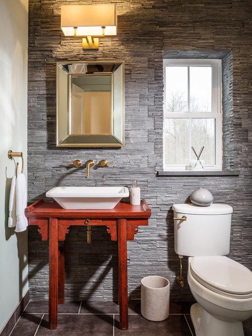 Photos et id es d co de wc et toilettes mur ardoise - Deco wc chic ...