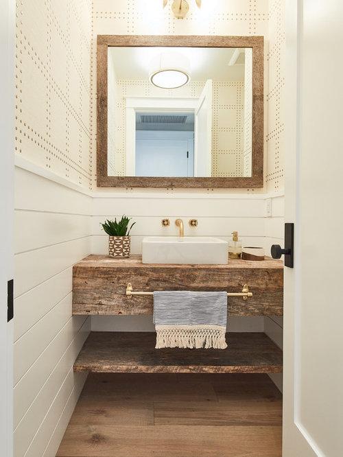 100 Medium Tone Wood Floor Powder Room With Wood Countertops Ideas