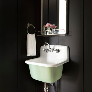 Country powder room photo in Minneapolis with black walls and a wall-mount sink
