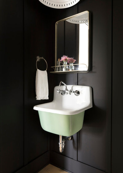Farmhouse Powder Room by Sustainable Nine Design + Build