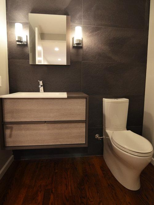 photos et id es d co de wc et toilettes modernes avec des carreaux de porcelaine. Black Bedroom Furniture Sets. Home Design Ideas