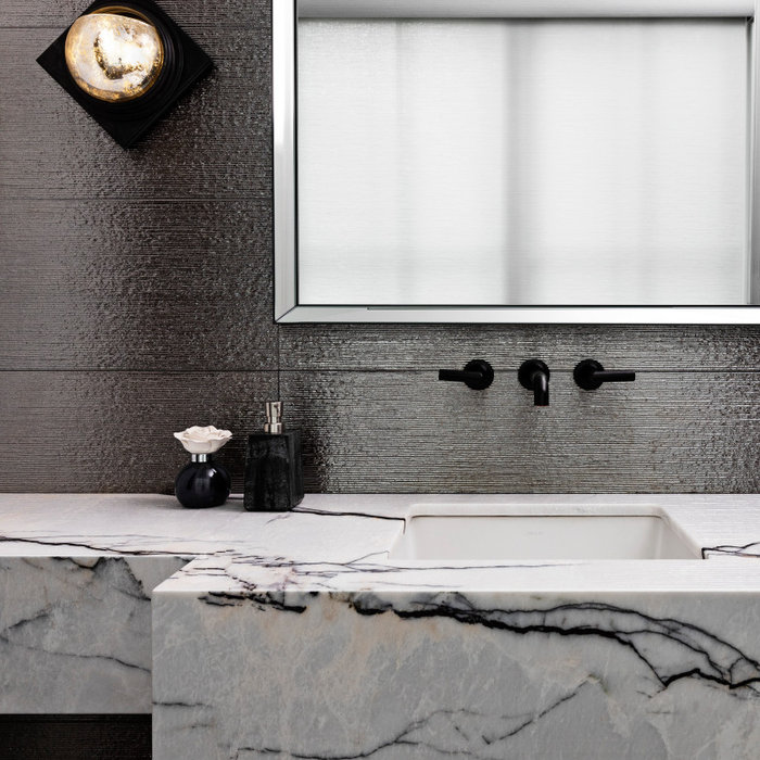 """We always say that a powder room is the """"gift"""" you give to the guests in your home; a special detail here and there, a touch of color added, and the space becomes a delight! This custom beauty, comple"""