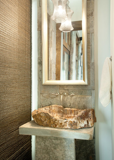 Rustic Powder Room by Dianne Davant and Associates